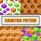 Isometric 3d  Background. Set of Isometric 3d  Background with Cubes. Futuristic Geometric Seamless Pattern Collection. Optical Illusion of Volume Stock Image
