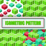 Isometric 3d  Background. Set of Isometric 3d  Background with Cubes. Futuristic Geometric Seamless Pattern Collection. Optical Illusion of Volume Stock Images