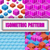 Isometric 3d  Background. Set of Isometric 3d  Background with Cubes. Futuristic Geometric Seamless Pattern Collection. Optical Illusion of Volume Royalty Free Stock Photography
