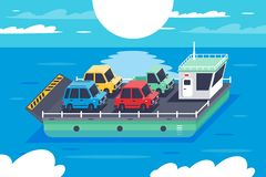Isometric 3d barge carrying colors classic hatchback, sedan cars. Concept vehicle on water, sea transportation. Low poly. Vector illustration vector illustration