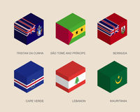 Isometric 3d boxes with flags. Of countries in Atlantic. Simple containers with standards - Mauritania, Cape Verde, Lebanon, Tristan da Cunha, Sao Tome, Bermuda Stock Images