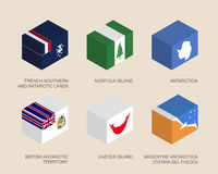Isometric 3d boxes with flags Stock Image