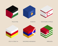Isometric 3d boxes with flags Royalty Free Stock Photo