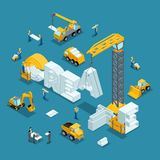 Isometric 3d Building business idea, creative, create. Working people in the construction work. Development plan of the invention. Construction Isometric Royalty Free Stock Photography