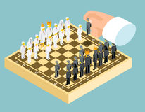 Isometric 3d business chess figures. Business. Strategy concept. Competition and board, chessboard and rook, chessman knight, vector illustration Stock Images