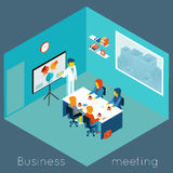 Isometric 3d business meeting. Teamwork and brainstorm, collaboration and coworker, process conference, vector illustration Royalty Free Stock Photography