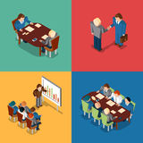 Isometric 3D business people icons. Meeting  job. Isometric 3D business people icons. Meeting and job interview, deal handshake and presentation, teamwork and Royalty Free Stock Images