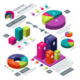 Isometric 3d business vector infographic with color diagrams and charts. Isometric colored infographic and diagram for information web illustration stock illustration