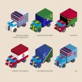 Isometric 3d cargo trucks with Stock Image