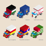 Isometric 3d cargo trucks with Royalty Free Stock Photography