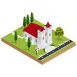 Isometric 3D church building vector Royalty Free Stock Photos