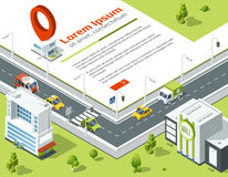 Isometric 3d city. Conceptual poster with highway and point on map location. Vector illustration Royalty Free Stock Images