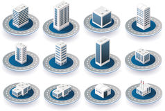 Isometric 3D city icons. With houses, skyscrapers, buildings for Web sites and applications Royalty Free Stock Photography