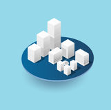 Isometric 3D city icons. Isometric 3D city icon with houses, skyscrapers, buildings for Web sites and applications Stock Photography