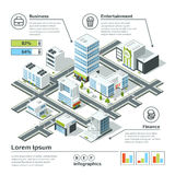 Isometric 3d city map. Infographic vector illustration. Dimensional plan Royalty Free Stock Photos