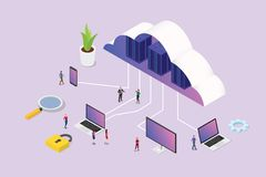 Isometric 3d cloud computing concept with team people and various media platform laptop smartphone computer - vector stock illustration