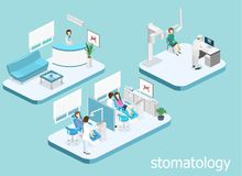 Dental Clinic. flat interior of dentist`s office. Isometric 3D  concept  cutaway interior of a Dentistry waiting room. Dental Clinic. flat interior of dentist`s Royalty Free Stock Photography