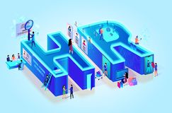 Isometric 3d Creative Letters HR. Human Resources stock illustration