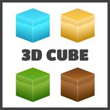 Isometric 3D cube textures set for computer games.  Royalty Free Stock Photo