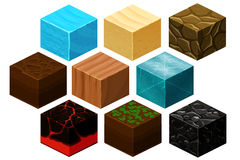 Isometric 3D cube textures vector set for computer games. Cube for game, element texture, nature brick for computer game illustration Stock Photos