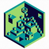 Isometric 3d cubes shape illustration Royalty Free Stock Images
