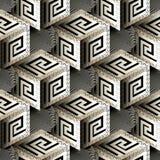 Isometric 3d cubes greek vector seamless pattern. vector illustration