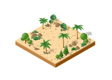Isometric 3D park. Isometric 3D desert park with palm trees of a three-dimensional city stock illustration