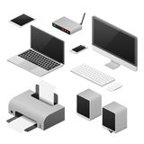 Isometric 3D digital vector computers and supplies of office workspace stock illustration