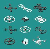 Isometric 3d drones. Uav unmanned aircrafts vector set. Illustration of quadrocopter remote, transport quadcopter equipment Stock Photos