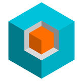 Isometric 3d duotone conceptual cube icon. Geometric cube for st Royalty Free Stock Photos
