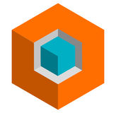 Isometric 3d duotone conceptual cube icon. Geometric cube for st Royalty Free Stock Images