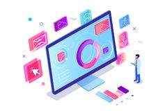 Isometric 3d engineer man with computer with diagram, app, map, search, wearth, post and social. royalty free illustration