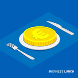 Isometric 3d euro coin on plate Royalty Free Stock Photos