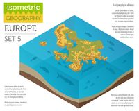 Isometric 3d Europe physical map constructor elements on the wat. Er surface. Build your own geography infographics collection. Vector illustration Stock Image