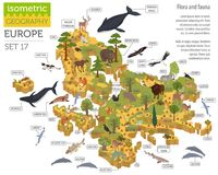 Isometric 3d European flora and fauna map constructor elements. Animals, birds and sea life  on white big set. Build your own geography infographics collection Stock Images