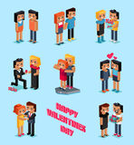 Isometric 3d Family Love Hearts. Valentine Day Royalty Free Stock Photo