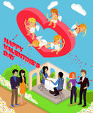 Isometric 3d Family Love Hearts. Valentine Day Stock Photo