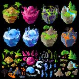 Isometric 3d fantastic islands, details for gui, game design. Cartoon illustration of different landscapes. Isometric 3d fantastic islands, details for gui, game stock photos
