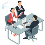 Isometric  vector  office. Isometric 3d flat design vector  office. Man and woman communicating to lawyer in the office.  Business discussion of legal Stock Photos