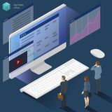 Isometric 3d flat design vector  office work. Corporate teamwork  working business process. Men and women communication illustration for infographics Stock Images