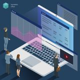 Isometric 3d flat design vector  office work. Corporate teamwork  working business process. Men and women communication illustration for infographics Royalty Free Stock Photos