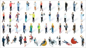 Isometric 3d flat design vector people. Set. Different characters, styles and professions, full length diverse acting poses collection. Varios poses, sitting Vector Illustration