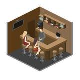 Isometric 3D flat interior of bar or pub. Stock Photos