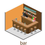 Isometric 3D flat interior of bar or pub. Royalty Free Stock Images