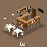 Isometric 3D flat interior of bar or pub. Stock Photography