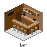Isometric 3D flat interior of bar or pub. Royalty Free Stock Image