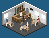 Isometric 3D flat interior of bar or pub. Stock Images