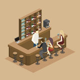 Isometric 3D flat interior of bar or pub. Royalty Free Stock Photo