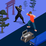 Isometric 3d flat style ninja fight screen vector. Cartoon ninja fight game screen shot concept vector illustration. Isometric 3d flat style playing video game Stock Photos