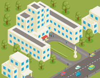 Isometric 3d flat university or college building Stock Image